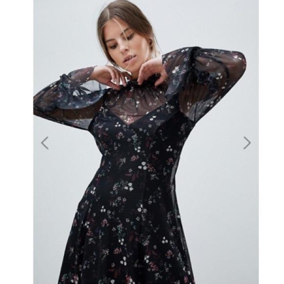 985bcfc239ac0 ASOS Dresses | Floral Printed Mesh Swing Dress Shirred Neck | Poshmark